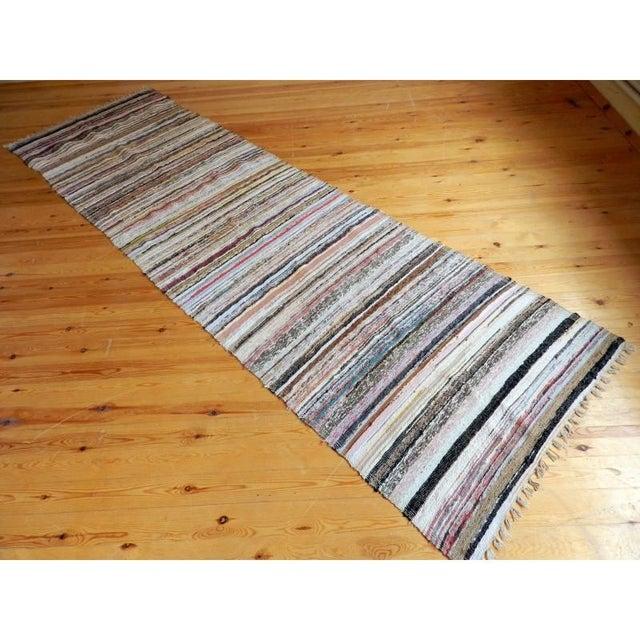"Striped Turkish Rag Rug Runner- 10'3"" X 3'2"" - Image 9 of 10"