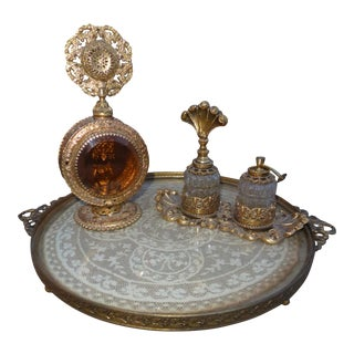 Vintage Ormolu Gold Filigree Perfume Tray & Perfume Bottles - Set of 4