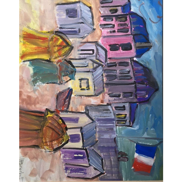 """""""French Flag Floating in the Wind on a Beach"""" Painting For Sale - Image 4 of 5"""