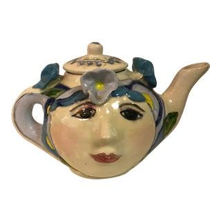 Sue Bolt Ceramic Studio Pottery Double Face Teapot For Sale