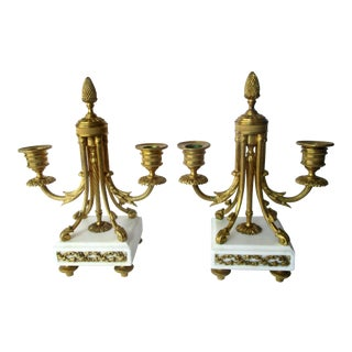 19th Century Louis XIV Bronze Dore & Marble Candelabras - a Pair For Sale