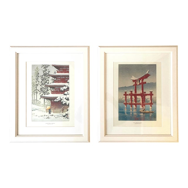 Framed Japanese Woodblock Reproduction Prints After Kawase Hasui - Set of 2 For Sale