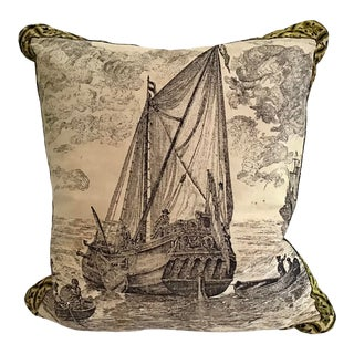 French Silkscreened Boat Scene Pillow For Sale