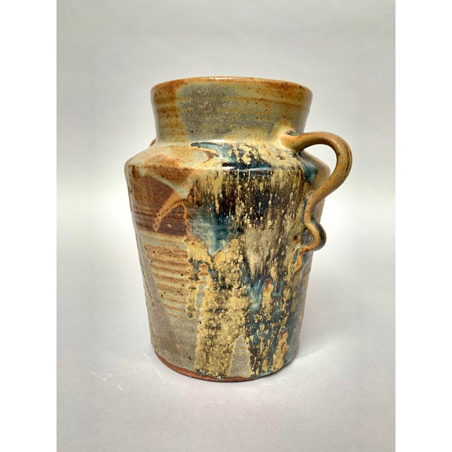 1970s Vintage Two-Handled Studio Pottery Vase For Sale - Image 4 of 12