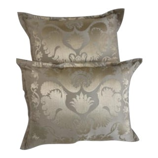Scalamandre Damask Pillows - A Pair For Sale
