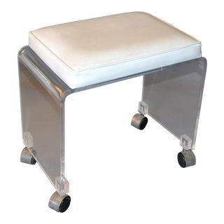 Mid-Century Modern Lucite Stool, Vanity Stool White Vinyl Seat on Chrome Casters For Sale