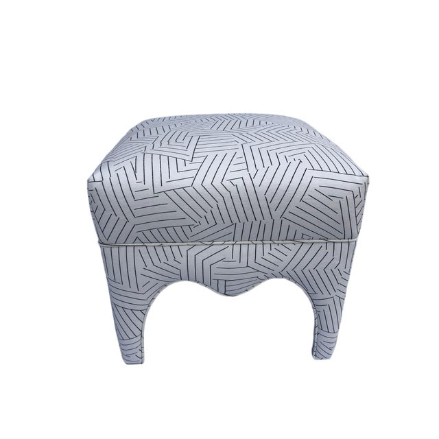 Cute vintage ottoman with new designer, Schumacher, deconstructed stripe fabric. Black and white graphic fabric, 100%...