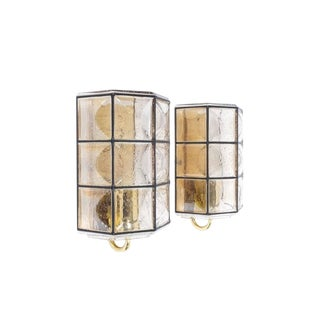 Glashütte Limburg Pair of Brass and Glass Sconces Wall Lamps, Germany, 1960 For Sale