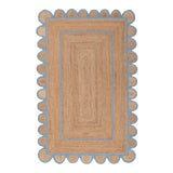 Image of Scallop Jute Classic Blue Hand Made Rug - 3'x5' For Sale