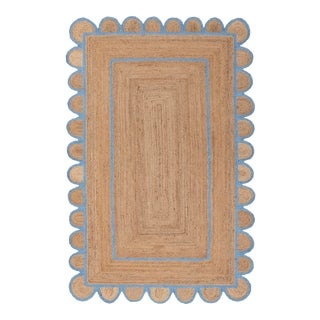 Scallop Jute Classic Blue Hand Made Rug - 3'x5' For Sale