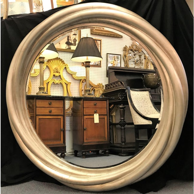 Large Hollywood Glam Round Mirror With Beveled Edge And Silver Finish Chairish