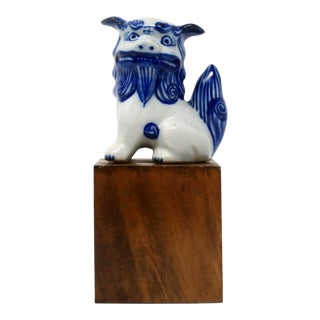 Vintage Blue and White Foo Dog on Wood Block For Sale