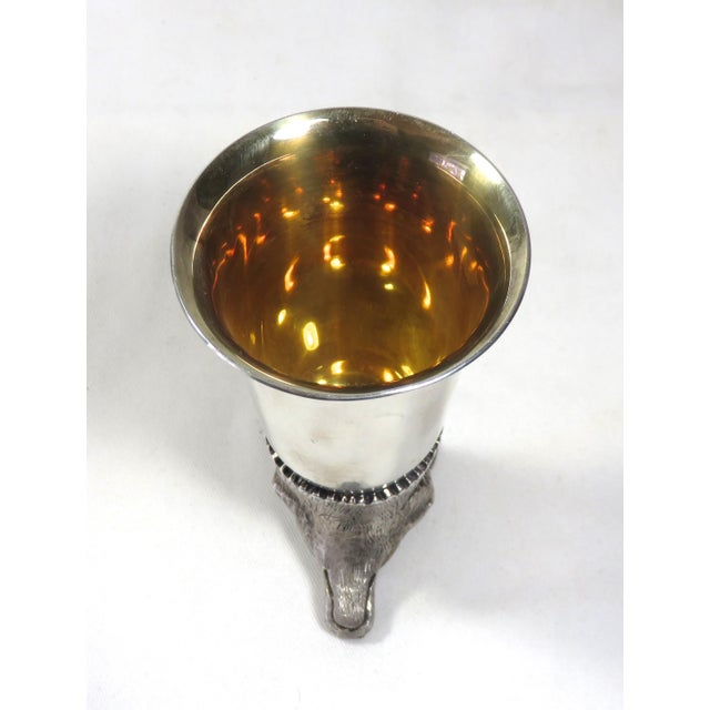 Late 20th Century Silverplate on Copper Fox Head Stirrup Cup For Sale - Image 5 of 13