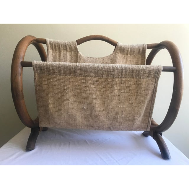 Mid Century Modern Bentwood and Burlap Magazine Holder For Sale - Image 13 of 13