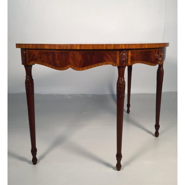 1990s 1990s English Traditional Maitland Smith Demi-Lune Console Tables - a Pair For Sale - Image 5 of 13