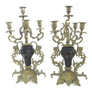 Antique Floral Cloisonne Gold Gilt Brass Figural Medallion Candelabras - a Pair For Sale