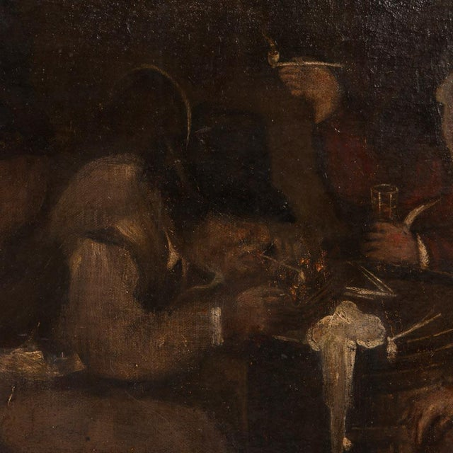 Mid 19th Century 19th Century Antique Original Men Drinking in a Tavern French Oil Painting For Sale - Image 5 of 7