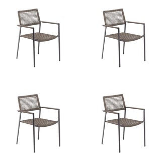 Outdoor Arm Chair, Carbon and Mocha, Set of 4 For Sale