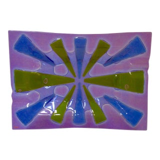 Higgins Modernist Purple Glass Platter For Sale