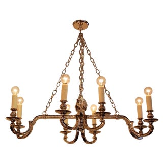 Modernized Neoclassical Nickel Plated 8 Arm Chandelier For Sale