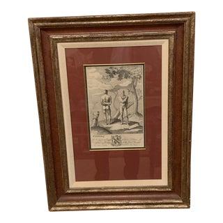 Sir Osbourne Nude Engraving, Framed For Sale