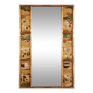 Vintage Hollywood Regency Chinoiserie Gold Gilt Faux Bamboo Paneled Wall Mirror For Sale