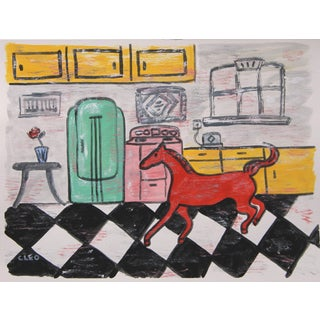 Art Deco Horse in Kitchen Painting by Cleo Plowden For Sale