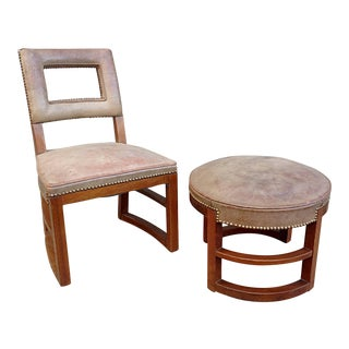 Gilbert Rohde Machine Age Side Chair and Stool For Sale