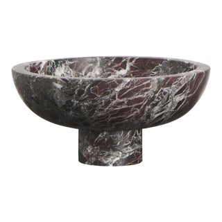 Fruit Bowl in Red Marble by Karen Chekerdjian, Made in Italy For Sale