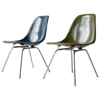 Pair of Charles Eames Shell Chairs With Lounge Base For Sale