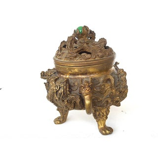 Antique Bronze Chinese Incense Burner-Marked-Dragons/Clouds/Creatures Preview