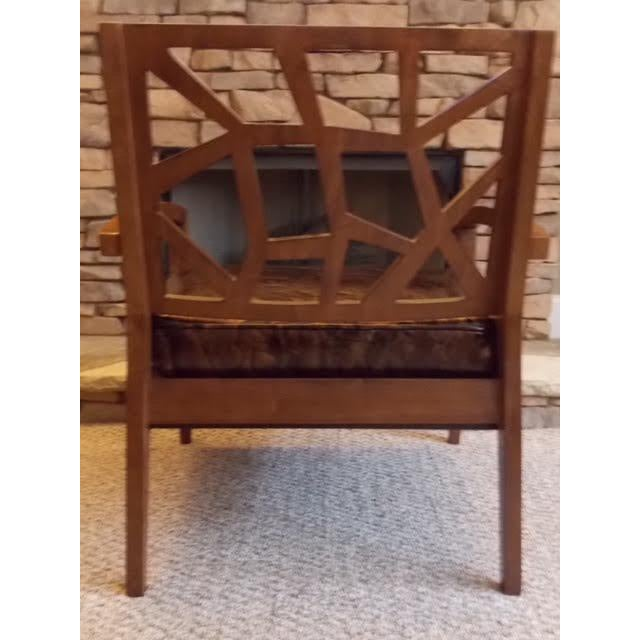 Art Deco Illusion Leather Armchair For Sale - Image 4 of 5