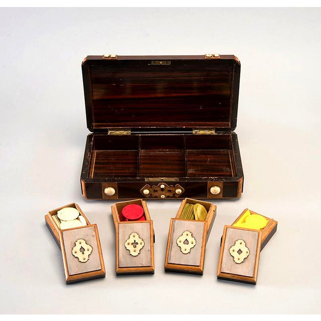 French Inlaid Mahogany Game Box With White Stones For Sale - Image 4 of 7
