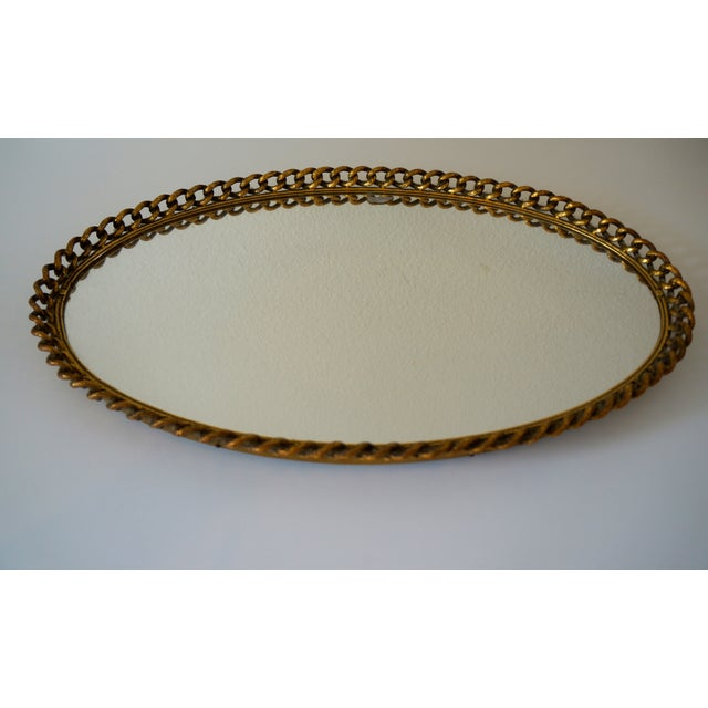 Vintage Gold Chain Mirror Tray - Image 2 of 4