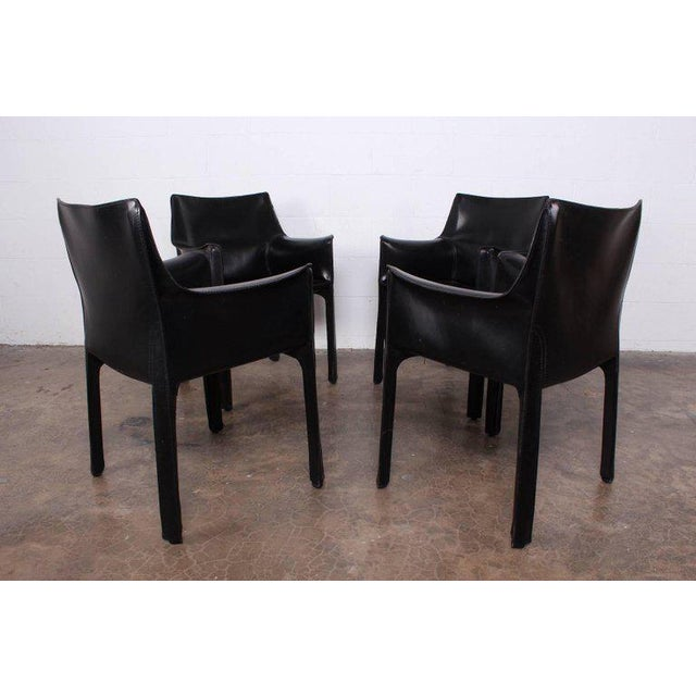 Set of Four Cab Armchairs by Mario Bellini for Cassina For Sale - Image 10 of 11
