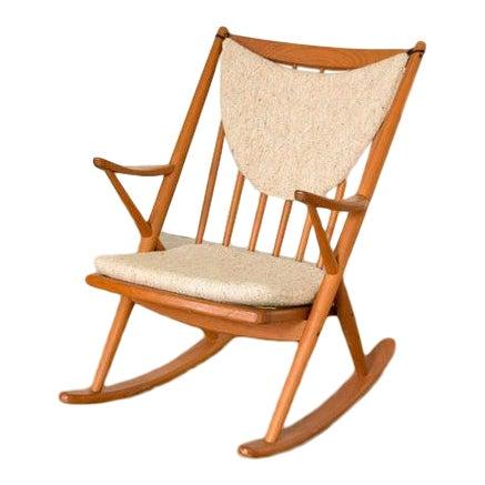 Vintage Mid Century Danish Modern Frank Reenskaug for Bramin Teak Wood Rocker Rocking Chair, 1960s For Sale