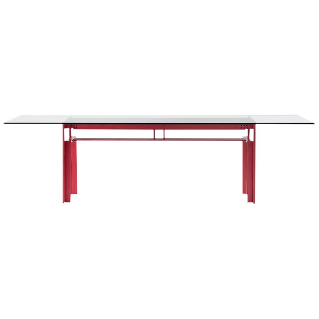 Carlo Scarpa Red Anodized Architectural 'Doge' Dining Table for Cassina Simon For Sale