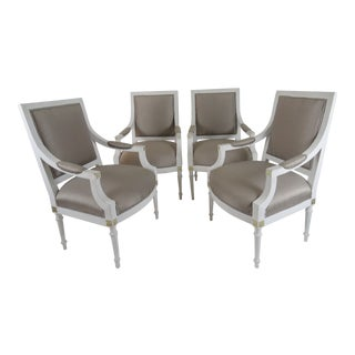 19th Century Vintage Gustavian Armchairs - Set of 4 For Sale