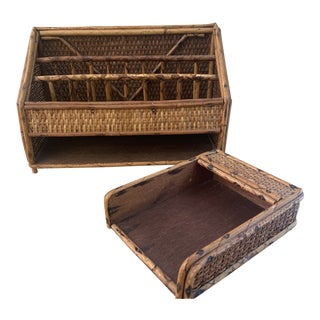 Bamboo and Rattan Desk Set For Sale