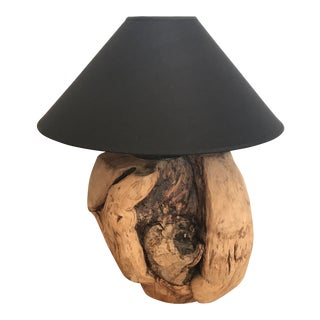 1950s Teak Root Ball Lamp With Black Linen Shade For Sale