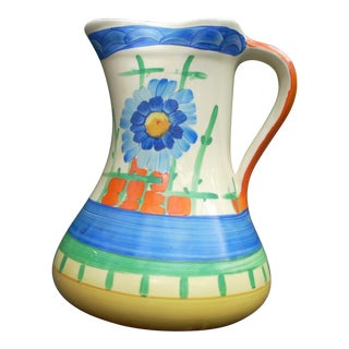 Hand Painted English Country Pitcher For Sale