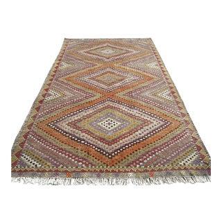 "Vintage Anatolian Embroidered Kilim Purple Rug-6'x10"" For Sale"