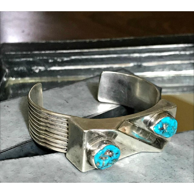Metal 1970s Navajo Style Scott Dave Navajo Silver Turquoise Cuff Bracelet For Sale - Image 7 of 7