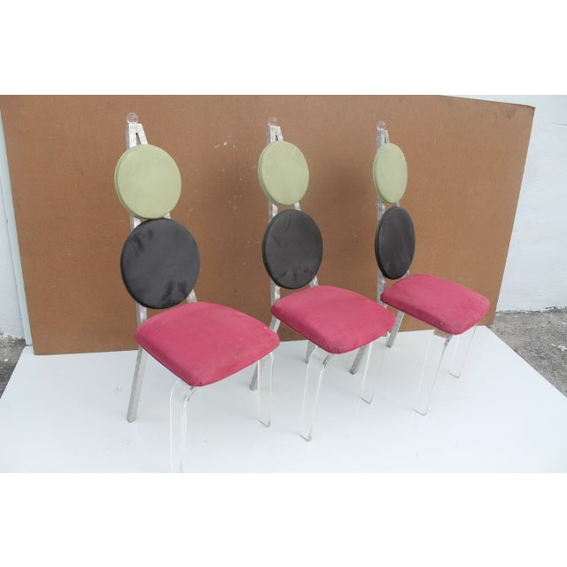 Vintage Lucite & Aluminum Dining - Chairs Set of 3 For Sale - Image 7 of 11