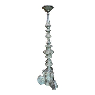 Tall Bronze Candle Holde For Sale