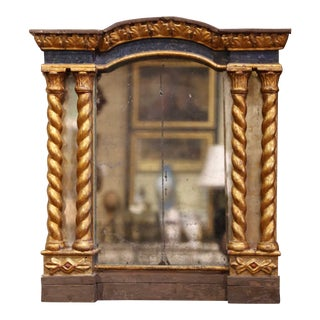 Mid-18th Century Italian Baroque Carved Polychrome and Giltwood Wall Mirror For Sale
