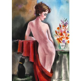Erik Freyman, Nude With Cat, Watercolor With Pastel For Sale