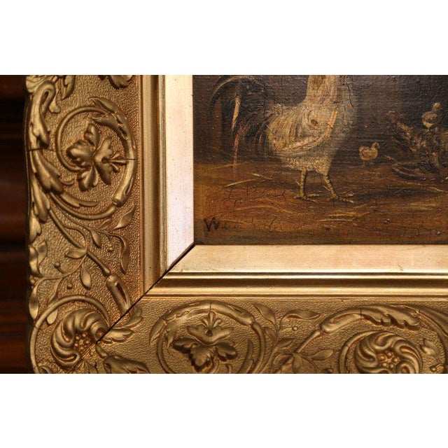 Early 19th Century Pair of 19th Century French Oil Chicken Paintings on Board in Carved Frames Circa 1880 For Sale - Image 5 of 10