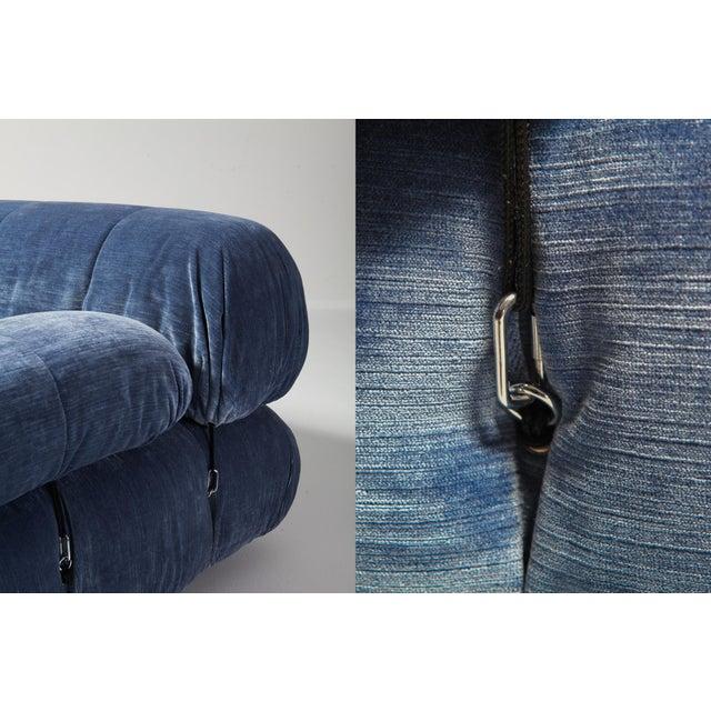 Mario Bellini Camaleonda Sectional Sofa in Blue Velvet For Sale - Image 6 of 9