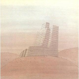 """JEAN-MICHEL FOLON Untitled 10"""" x 10"""" Offset Lithograph 1970 Surrealism For Sale"""